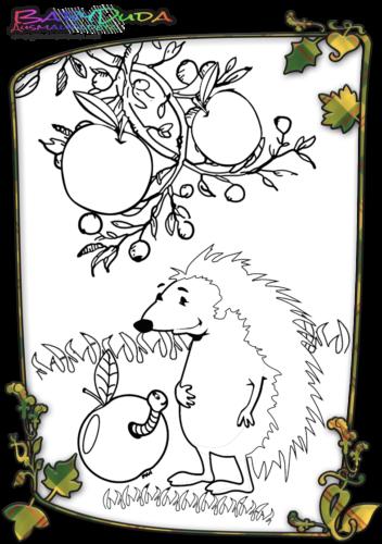 Herbst Tiere Malbild Igel