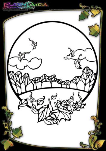 Herbst-Wald-Malvorlage