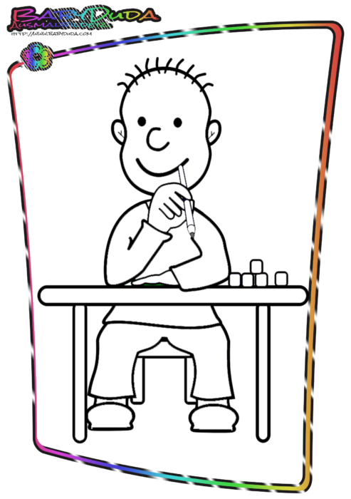 Schule-Malbild-Schuljunge
