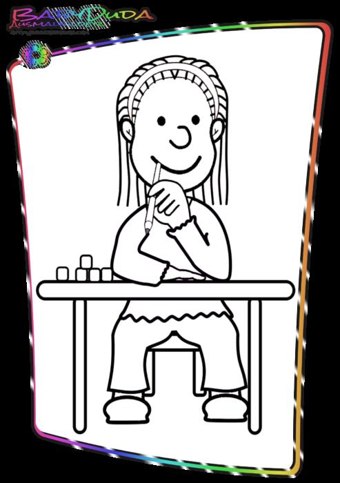 Schule-Malbild-Schulmaedchen