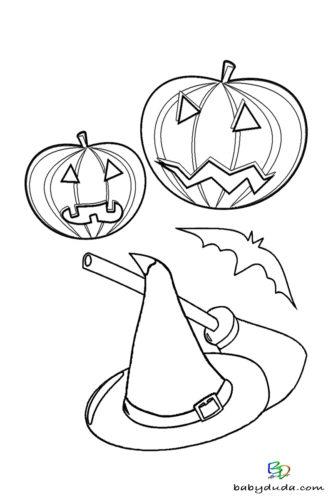 Kürbisse Ausmalen - Halloween Ausmalbilder & Walpurgisnacht Malvorlagen