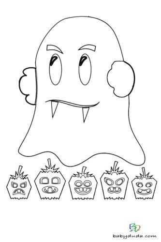 Geist Ausmalen - Halloween Ausmalbilder & Walpurgisnacht Malvorlagen
