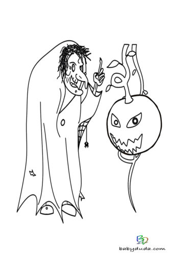 Grusel-Kürbis Ausmalen - Halloween Ausmalbilder & Walpurgisnacht Malvorlagen