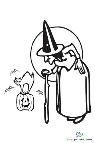 Hexe & Katze Ausmalen - Halloween Ausmalbilder & Walpurgisnacht Malvorlagen