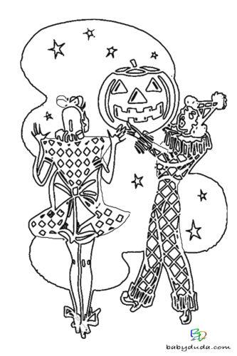 Clown & Kürbis Ausmalen - Halloween Ausmalbilder & Walpurgisnacht Malvorlagen