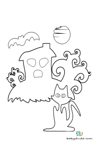 Katze & Haus Ausmalen - Halloween Ausmalbilder & Walpurgisnacht Malvorlagen