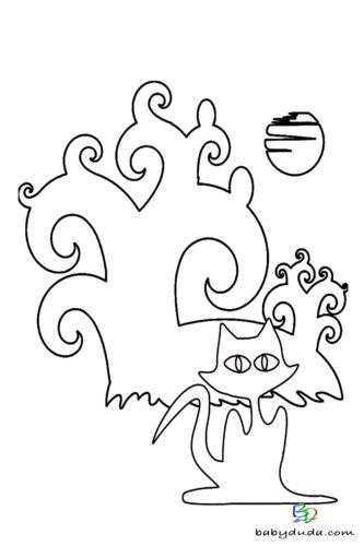 Katze & Baum Ausmalen - Halloween Ausmalbilder & Walpurgisnacht Malvorlagen