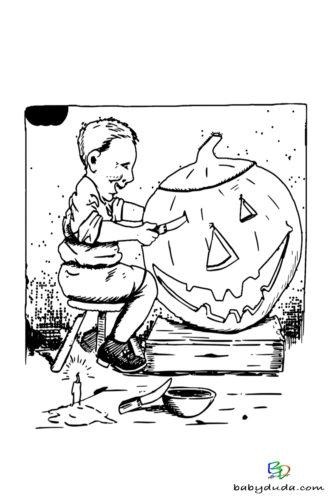 Kind & Kürbis Ausmalen - Halloween Ausmalbilder & Walpurgisnacht Malvorlagen