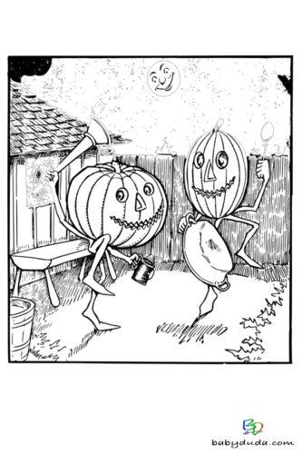 Tanzender Kürbis Ausmalen - Halloween Ausmalbilder & Walpurgisnacht Malvorlagen