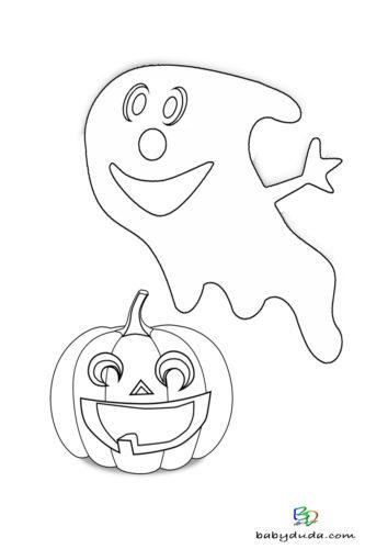 Kleiner Geist Ausmalen - Halloween Ausmalbilder & Walpurgisnacht Malvorlagen