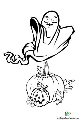 Geist & Kürbis Ausmalen - Halloween Ausmalbilder & Walpurgisnacht Malvorlagen