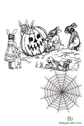 Osterhase & Kürbis Ausmalen - Halloween Ausmalbilder & Walpurgisnacht Malvorlagen