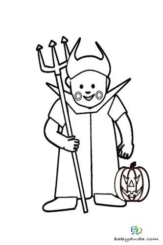 Kleiner Teufel Ausmalen - Halloween Ausmalbilder & Walpurgisnacht Malvorlagen