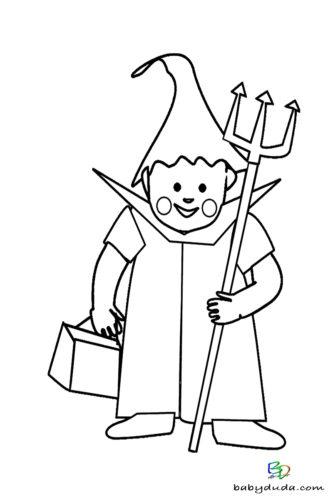 Teufelchen Ausmalen - Halloween Ausmalbilder & Walpurgisnacht Malvorlagen