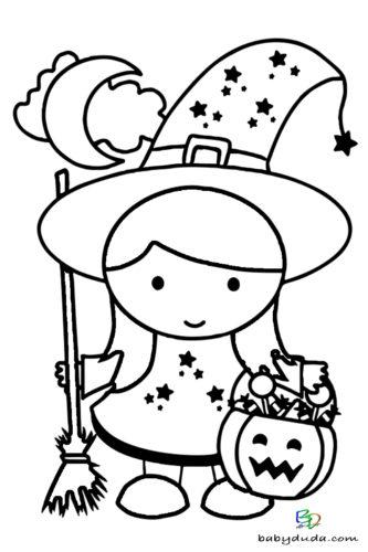 Kleine Hexe Ausmalen - Halloween Ausmalbilder & Walpurgisnacht Malvorlagen