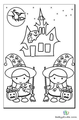 Geisterschloss Ausmalen - Halloween Ausmalbilder & Walpurgisnacht Malvorlagen
