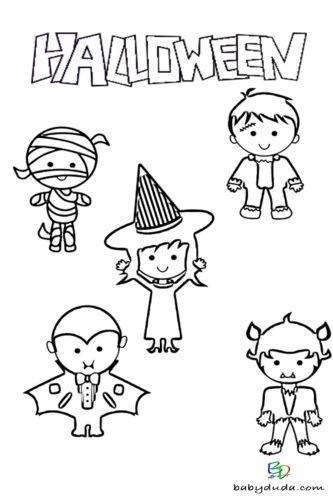 Verkleiden Kinder Ausmalen - Halloween Ausmalbilder & Walpurgisnacht Malvorlagen