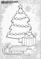Weihnachten-Ausmalbild-Weihnachts-Malbild-Weihnachtsbaum-und-Schlitten