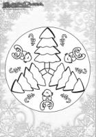 Winter Ausmalbild – Mandala Weihnachtsbaum Malvorlage