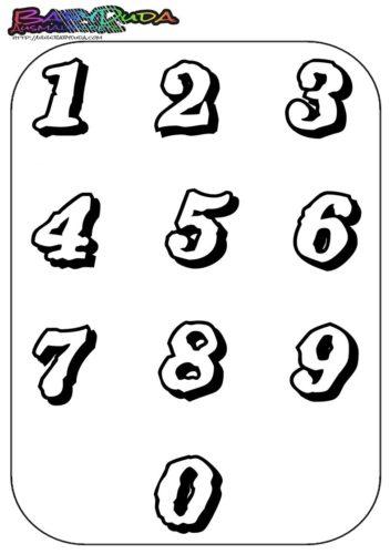 Zahlen Ausmalbild - Malbild mit Vorlage 1 bis 0