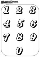Zahlen Ausmalbild – Malbild mit Vorlage 1 bis 0
