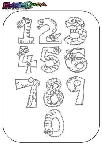 Zahlen Ausmalbild - Malvorlage 0 bis 10