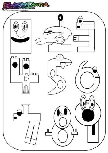 Zahlen Ausmalbild - Malvorlage 1 bis 9
