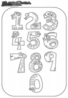 Zahlen Ausmalbild – Malvorlage 1 bis 9 und 0