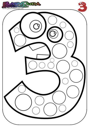 Zahlen Ausmalbild - Malvorlage 3