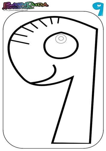 Zahlen Ausmalbild - Malvorlage 9