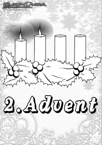 Winter Ausmalbild - 2 Kerzen Adventskranz