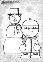 Winter Ausmalbild Schneemann Kind