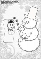 Winter Ausmalbild Schneemann und Kind