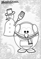Winter Ausmalbild Schneemann und Pinguin