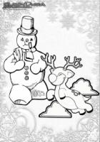 Winter Ausmalbild Schneemann und Rentier