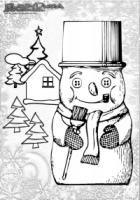 Winter Malbild Schneemann