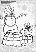 Winter Malbild Schneemann und Pinguin