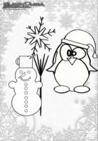 Winter Malvorlage Schneemann und Pinguin