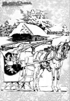Winter Malbild Pferdekutsche im Schnee