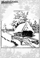 Winter Malvorlage Schneelandschaft