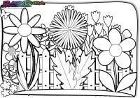 Frühling-Ausmalbild-Blumenbeet