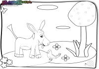 Frühling-Ausmalbild-Kuckuck-Esel