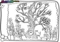 Fruehling-Ausmalbild-Katzenbaum