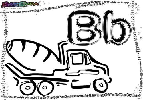 Alphabet Malvorlage Buchstabe B-Betonmischer