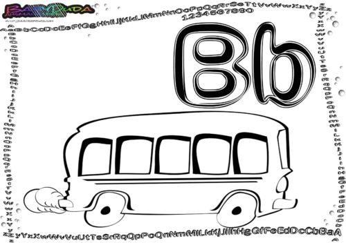 Alphabet Malbild Buchstabe B-Bus
