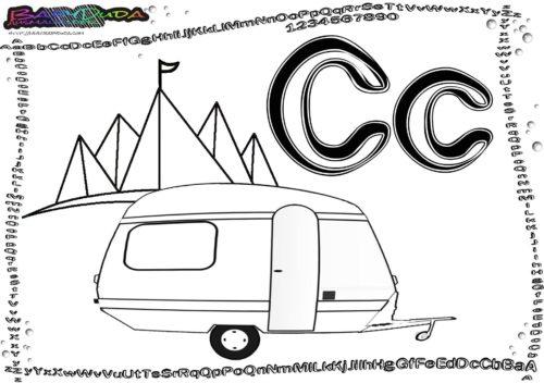 Alphabet Ausmalen Buchstabe C-Campingwagen