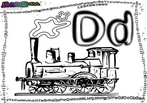 Alphabet ABC Vorlage Buchstabe D-Dampflok