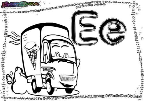 Alphabet ABC-Malvorlage Buchstabe E-Eiswagen
