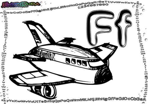 Alphabet ABC-Malbild Buchstabe F-Flugzeug