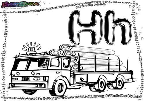 Alphabet Fahrzeug Ausmalen Buchstabe H-Holztransporter